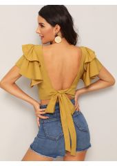 Tiered Layered Tie Open Back Crop Blouse SheIn