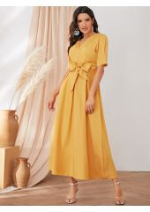Knot Front Solid Dress SheIn