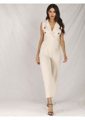 Double Breasted Belted Jumpsuit SheIn