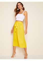 Self Belted Wide Leg Solid Pants SheIn
