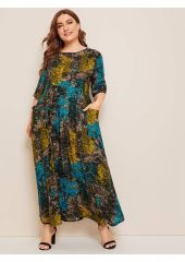 Plus All Print Pocket Patched Dress SheIn