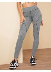 Wide Waistband Contrast Topstitching Leggings SheIn
