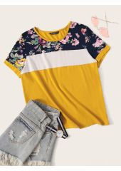 Cut-and-sew Floral Print Top SheIn