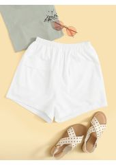 Solid Pocket Patch Shorts SheIn