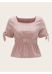 Gingham Square Neck Knotted Cuff Peplum Top SheIn