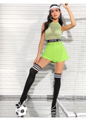 Neon Lime Buckle Belted Rolled Hem Shorts SheIn