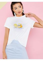 Fruit & Letter Print Tee SheIn