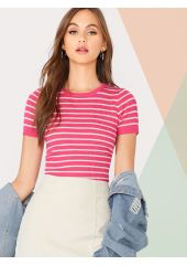 Striped Rib-knit Skinny Knit Top SheIn