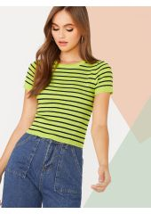 Rib-knit Striped Fitted Knit Top SheIn