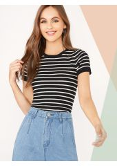 Striped Rib-knit Fitted Knit Top SheIn