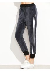 Dark Grey Ribbed Trim Striped Side Velvet Pants SheIn